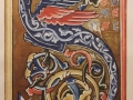 Enluminure à l'aquarelle et gouache dorée